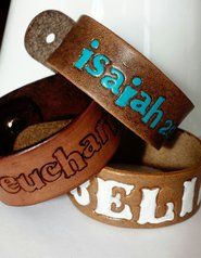 Stamped Leather Cuff - Adult Wide