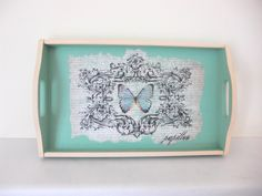 Wooden decoupage rectangular serving or por ArtandWoodShop en Etsy, €27.00
