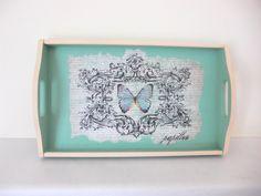 Butterfly wooden tray , green shabby chic kitchen tray , retro kitchenware , decoupage tray