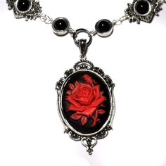 Steampunk Goth Jewelry Necklace  Black and Red
