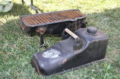 Ok, hit the salvage yard for this -  oil pan habachi BBQ