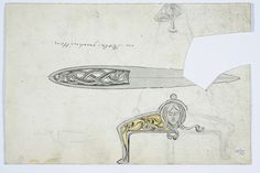 Gustav Gaudernack. Ink drawing/watercolor of silver paper knife and bag with dragon style elements.Tegning @ DigitaltMuseum.no