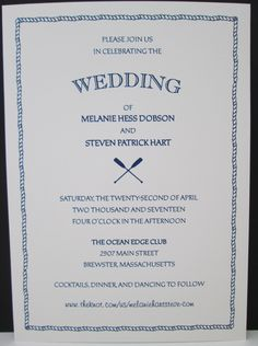Single layer invitation with rope border