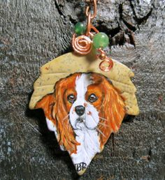Autumn Leaf Hand Painted Cavalier King Charles Dog Pendant Art Necklace Jewelry | eBay
