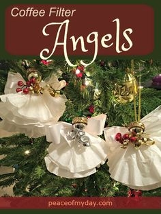 Easy to make Coffee Filter Angels for kids & adults! Decorate the Christmas tree or gifts from PeaceOfMyDay.com. #kidscrafts #Christmas #holiday #DIYgifts