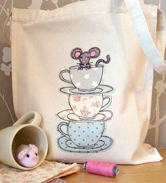 Teacup Mouse Canvas Shopper Bag: cute teacup idea to use on pillow, apron etc