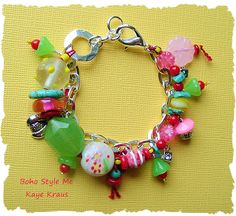 Colorful Festival Jewelry, Boho Beaded Jewelry, Candyland, Whimsical Charm Bracelet, Boho Style Me, Kaye Kraus