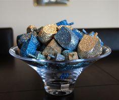 DIY Glittered Hanukkah dreidals.