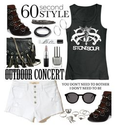 """""""60-Second Style: Outdoor Concert"""" by hubunch ❤ liked on Polyvore featuring Hollister Co., Jeffrey Campbell, GUESS by Marciano, Thierry Lasry, Sterling Essentials, Chamilia, Steve Madden, MAC Cosmetics, Diptyque and Charlotte Russe"""