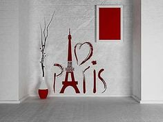 Wall Sticker Paris Eiffel Tower France Love Romantic Travel Europe Decor (z706)