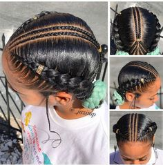 Hairstyles black girls kids easy 45 ideas Little Girl Hairstyles Black Black Easy Girls Hairstyles Ideas Kids Little Girl Braids, Black Girl Braids, Girls Braids, Halo Braids For Kids, 2 Feed In Braids, Little Girl Braid Styles, Yarn Braids, Small Braids, Cabello Afro Natural