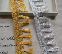 """Find More Lace Information about 15 yard 5.5cm 2.16"""" wide gold/silver tassel fringe lace trim ribbon tapes L2KN114 II 05F04 free ship,High Quality tape electronics,China tape recorder Suppliers, Cheap tape speaker from Lace Trim Wholesale on Aliexpress.com"""