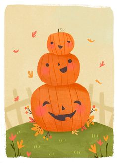 Cute stack of pumpkins - jack-o-lanterns by Lindsay Dale-Scott on Behance