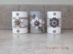 Recycle Cans, Diy Cans, Mason Jar Crafts, Bottle Crafts, Formula Can Crafts, Art From Recycled Materials, Easy Crafts, Diy And Crafts, Painted Tin Cans