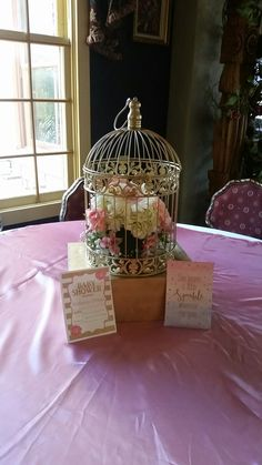Gold Birdcage - hydrangeas and roses