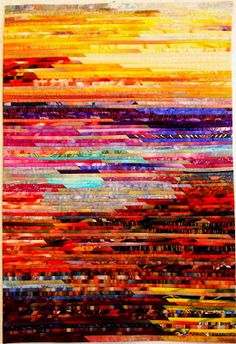 "Sara Kelly Art Quilts: Grand Canyon Sunrise 26""w x 39"" h"