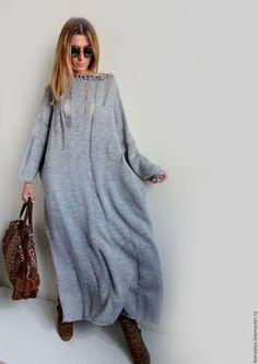 """Купить Платье в стиле бохо со спущеными петлями """"Стелла"""" - серый, однотонный, платье"""
