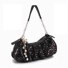 las damas elegantes de bowknot lentejuelas pu bolso de mano / embrague con el mango de la cadena (36cm * 12cm * 13cm) – EUR € 54.44
