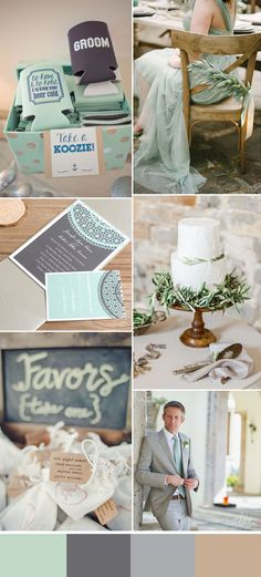 mint and green rustic summer wedding color ideas
