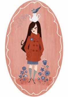 Miss Sleepy-pigeon-head-teapot-floating-among-the-flowers-dreamy girl by Brigette Barrager