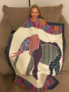 E is for Elephant Quilt - Custom Quilts by Stitched