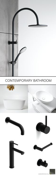 Inspiration for your new bathroom! Switzrok Matte Black looks stunning on our Pegasi range of tapware, showers and bathroom accessories. Pair with our Silkstone Apartment Bath and Silkstone Calais Basin for a complete luxury bathroom solution.