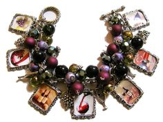 Wine Lover Altered Art Fashion Charm Bracelet Fuschia Purple Olive Green Glass Beads