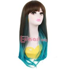 New Arrival 60CM/24inch Synthetic Two Tone Ombre Remy Hair Long Straight Harajuku Wigs Perucas Cosplay