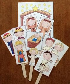 Nativity printables in English and Spanish with a song- love the little characters