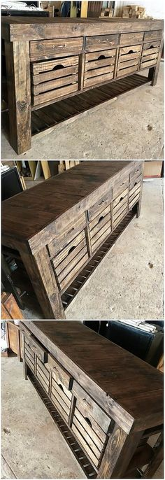 Let's present you with an outstanding wood pallet creation for you that can bring an attractive impression look into your house areas. Make this table design look attractive through the placement of pallet plank stacking. It can functionally be used as the chest of drawers too.