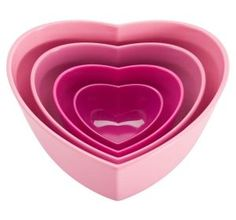 Zak Designs 4 Piece Heart-Shaped Serving Bowl Set Set of 4 heart shaped serving bowls, and quart and 5 ounce. Nests neatly for convenient sto Pink Love, Pretty In Pink, Hart Shape, Heart Shaped Bowls, Rose Fuchsia, Magenta, Serving Bowl Set, Serving Dishes, Pink Houses