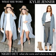 Kylie Jenner in light blue duster long coat from Asos with strap open toe ankle boots Gianvito Rossi Want Her Style #kyliejenner #fashion #outfit #style #coat #chic