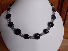 Obsidian, agate and quartz multi shape necklace £8.00