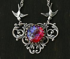 Dragon Breath Necklace with Flying Birds  от robinhoodcouture
