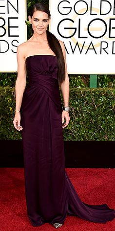The Night's Most Stunning Dresses   KATIE HOLMES   Once you get past that major ponytail, you'll notice Katie's perfectly fitted aubergine Marchesa gown is pretty fabulous on her.