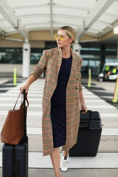 A plaid coat and knit dress and sneakers is the perfect travel style outfit // Blair Eadie of Atlantic-Pacific talks about her travel style // Click through for full outfit details style TRAVEL STYLE // COZY COMBINATIONS Mode Outfits, Casual Outfits, Fashion Outfits, Womens Fashion, Fashion Tips, Travel Fashion, Travel Outfits, Fashion Bloggers, Fashion Fashion