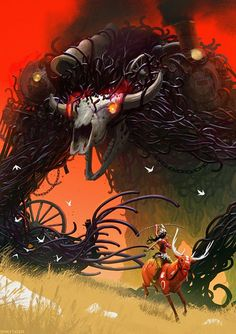 Beautiful Princess Mononoke fan art-- Ashitaka riding Yakul and the Demon Boar God.