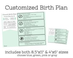 """Customized Birth Plan Info-graphics for a hospital birth.  Helps hospital staff see your requests at a glance!  You get an 8.5""""x11"""" printable jpg file AND a 4x6"""" printable jpeg file to hand out at the hospital.  $16.00  from Erin Crouch Studio on Etsy."""