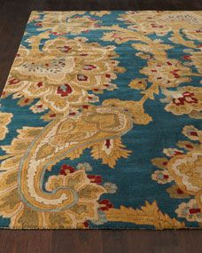 Paisley Parade Rug- gold, turquoise, red