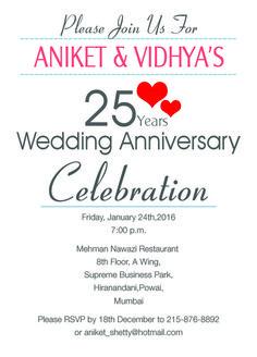 25th Wedding Anniversary Invitation hearts theme from inviteonline