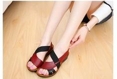86176a467b56 ZZPOHE Summer New Woman Soft bottom middle-aged Sandals Fashion comfortable  mother sandals leather large