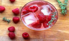raspberries oz gin oz Lillet blanc juice from of a lemon oz) oz soda optional sprig of thyme to garnish Fun Drinks, Yummy Drinks, Yummy Food, Beverages, Low Calorie Cocktails, Juice Diet, Love Eat, Grapefruit, Cocktails