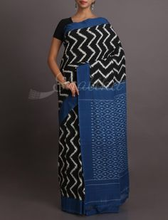 Sanskriti Zig Zag Splendor Pure Ikat Cotton Saree