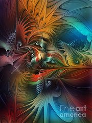 Fractal Art Art - Intricate Life Paths-Abstract Art  by Karin Kuhlmann