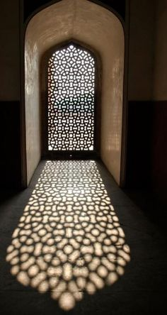 Love the color of sunlight reflecting through the windows. possibly an idea for .Love the color of sunlight reflecting through the windows. possibly an idea for near the end of the piece dentelle architecture Architecture Design, Islamic Architecture, Beautiful Architecture, Moroccan Design, Moroccan Style, Through The Window, Deco Design, Moorish, Islamic Art