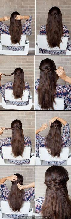 Pour une demi queue de cheval nattée:   Des graphiques qui aideront toutes les filles nulles en coiffure