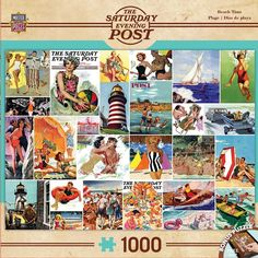 The Saturday Evening Post - Beach Time Collage - 1000 Piece Jigsaw Puzzle