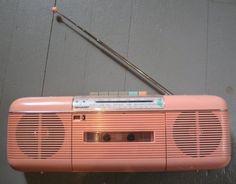 old radio cassette tape player | Pink 80's boom box. Mine was gray. Paula Abdul's cassette tape never ...