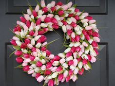 Custom Tulip Spring Wreath Valentine's Day by elegantholidays, $80.00 I think this word be so easy to make with a styrofoam wreath and dollar store silk tulips!!