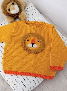 Baby Knitting Patterns Sweter Free Knitting Pattern for Lion Baby Sweater – Long-sleeved pullover with a lion&… Baby Knitting Patterns, Baby Sweater Knitting Pattern, Knitting For Kids, Baby Patterns, Free Knitting, Crochet Patterns, Crochet Cardigan, Knitting Stitches, Baby Sweater Patterns